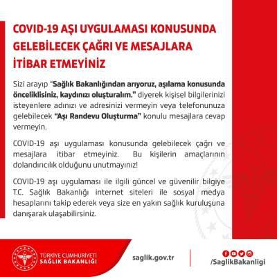 Sağlık Bakanlığı aşı dolandırıcılarına karşı uyardı