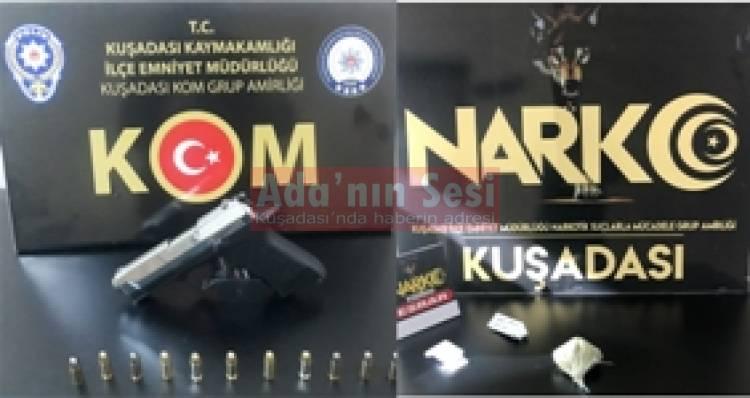 Kuşadası polisinden silah, uyuşturucu, hırsızlık operasyonları
